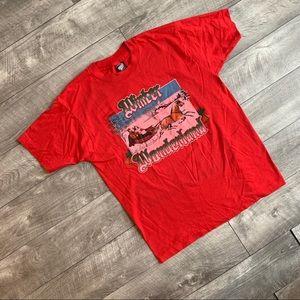 Vintage red winter wonderland graphic t-shirt